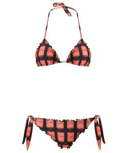 AMIR SLAMA | Ruffled Triangle Bikini Set Gg Elastodiene