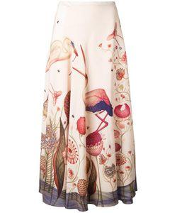 VILSHENKO | Flamingo Print Skirt 12 Silk