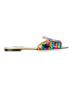 Dolce & Gabbana | Sequin Slip-On Sandals 40.5 Leather/Plastic