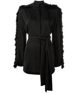 Ellery | Ruffled Belted Shirt Womens Size 8 Silk/Spandex/Elastane