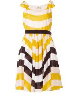 Fendi | Stripe Pleated Dress 44 Silk