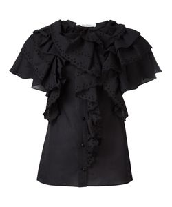 Givenchy | Broderie Anglaise Ruffle Trim Top 38 Cotton