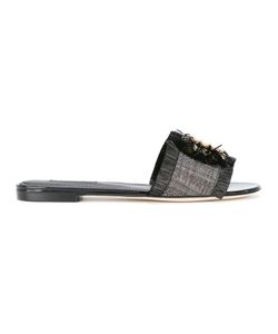 Dolce & Gabbana | Embellished Sandals 37.5 Viscose/Straw/Leather/Metal Other