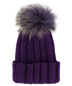 Inverni | Ribbed Fur Pom Pom Beanie Cashmere/Racoon Fur