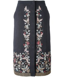 VILSHENKO | Embroide Midi Skirt 10 Cotton/Linen/Flax/Acetate/Cupro