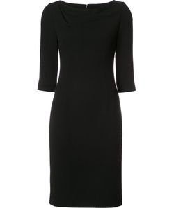 Carolina Herrera | Boatneck Fitted Dress 2 Silk/Wool