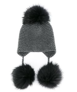 Inverni | Fox Fur Triple Pom Pom Beanie Hat Women