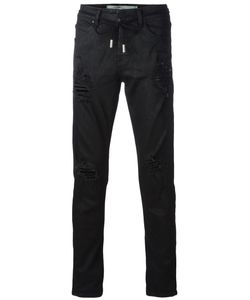 OFF-WHITE | Ripped Drawstring Skinny Jeans 30 Cotton/Spandex/Elastane/Polyester
