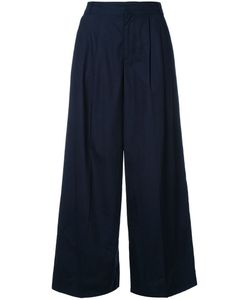 Muveil | Pleated Wide-Legged Cropped Trousers