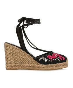 Marc Jacobs | Nathalie Wedge Espadrilles 37.5 Cotton/Leather/Raffia/Rubber