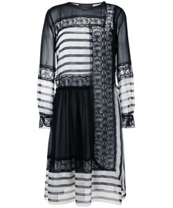 Alberta Ferretti | Contrast Panel Dress 42 Silk/Cotton/Polyamide