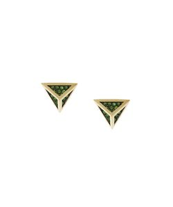 Noor Fares | Tetrahedron Stud Earrings Women Tsavorite/18kt