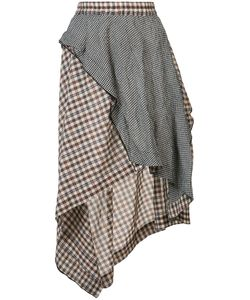 Hache | Asymmetric Plaid Skirt 42