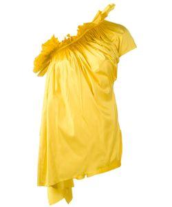 Marques Almeida | Marquesalmeida Ruffled One-Shoulder Asymmetric Top Small Silk