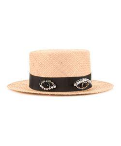 Muveil | Embellished Band Boater Hat