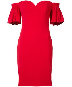 Badgley Mischka | Ruffled Off-Shoulders Fitted Dress 6 Polyester/Spandex/Elastane