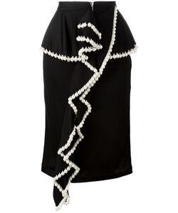 Givenchy | Pearl Trim Ruffle Front Skirt 36 Polyamide/Acetate/Viscose