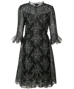 Oscar de la Renta | Cropped Trumpet Sleeve Lace Dress