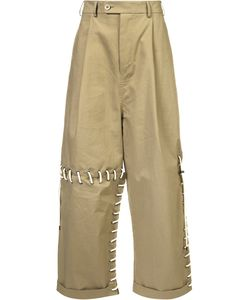 CRAIG GREEN | Laced Wide Leg Trousers Medium Cotton
