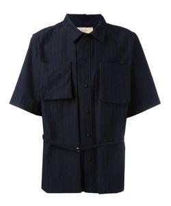 MAISON FLANEUR | Pinstripe Belt Shirt 50 Cotton/Virgin Wool