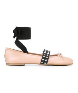 Pretty Ballerinas | Contrasting Strap Ballerinas 36 Leather/Eel Skin/Cotton/Polyester
