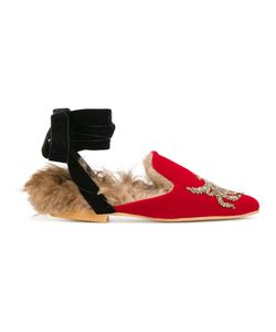 GIA COUTURE | Lamb Fur Lined Tied Slippers