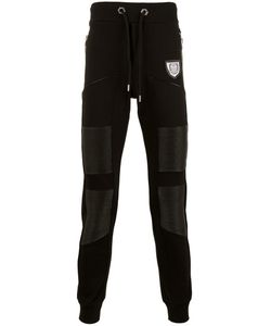 Philipp Plein | Leather Panel Track Pants Small Cotton/Artificial