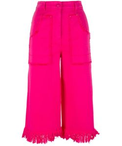 Love Moschino | Frayed Cropped Trousers 42 Cotton/Spandex/Elastane