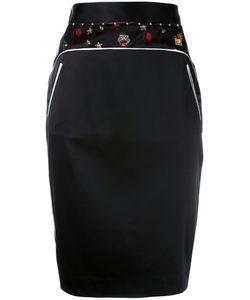 Cavalli Class   Embroidery Trim Pencil Skirt 40 Silk/Spandex/Elastane/Acetate/Polyimide
