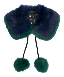 CHARLOTTE SIMONE | Fur Collar Scarf With Pom-Poms Women