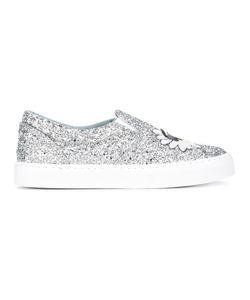 Chiara Ferragni | Glitter Slip-On Sneakers 40 Leather/Pvc/Rubber