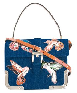 Red Valentino | Birds Print Shoulder Bag Cotton/Metal/Leather