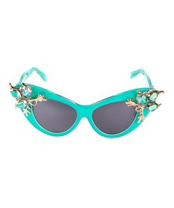 A-MORIR | Turquoise Crystal Embellished Cats-Eye Sunglasses From