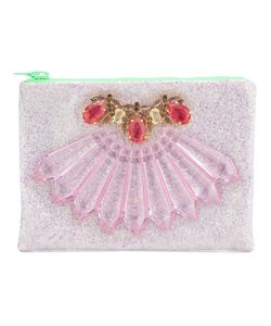 Mawi | Glitter Embellished Clutch From Featuring A Top Zip Closure Tone And Gemstone Embellishments And An Internal Patch Pocket