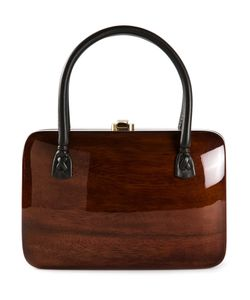 ROCIO   Acacia Wood And Leather Rio Handbag From