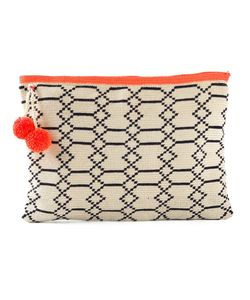 Sophie Anderson | Handmade Alder 4 Clutch By Featuring Geometric Print A Toned Hardware A Pom Pom Charm And A Zip Closure
