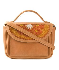 Sarah's Bag | Camel-Coloured Leather Beaded Flap Crossbody Bag From