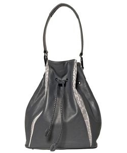 KHIRMA ELIAZOV | Leather Celine Bucket Bag From Featuring A Drawstring Fastening A Detachable Top Handle Tone Hardware And Python Skin Paneling