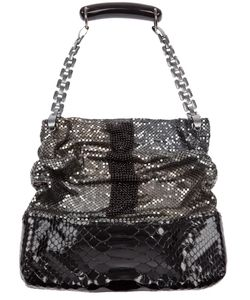 LAURA B | Leather Bewitch Me Handbag From Featuring A Top Open Closure A Python Skin Textured Effect At The Base Tone Beaded Chain Mail Paneling To The Top And A Stylised Chain Link Handle With A Curved Grip