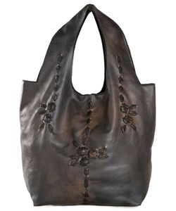 Numero 10   Leather Flowers Embroidered Tote Bag From