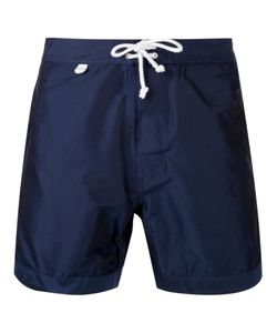 CUISSE DE GRENOUILLE | Navy Lace-Up Board Shorts From