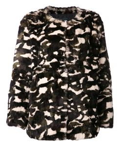JOCELYN | Multicolored Rabbit Fur Taj Camouflage Short Coat From Featuring A Crew Neck A Hook Eye Fastening Long Sleeves Side Slit Pockets A Camouflage Pattern And A Full Lining