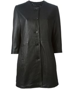 GOOSECRAFT | Leather Collarless Coat From Featuring Three-Quarter Length Sleeves And Side Pockets