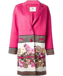 Etro | Пальто С Контрастным Цветочным Принтом
