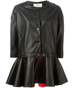 URBANCODE   Faux Leather Peplum Hem Coat From