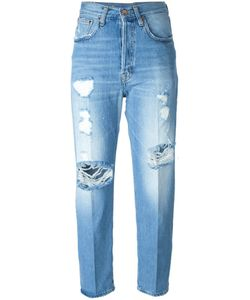 +people | Cotton Distressed Cropped Jeans From