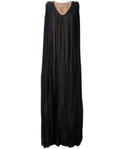 Marta Martino | Silk Oversize Sheer Dress From Featuring A V-Neck A Sleeveless Design A Pleated Design And A Contrasting Nude Lining