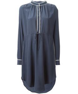 YMC | Navy Silk Asymmetric Hem Shirt Dress From