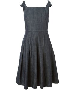 YMC | Indigo Cotton Bow Detail Denim Dress From