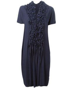 Zucca | Navy Ruffled Front Polka Dot Dress From